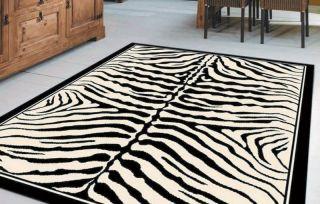 LARGE ZEBRA ANIMAL PRINT BLACK WHITE STRIPE RUG 160X225
