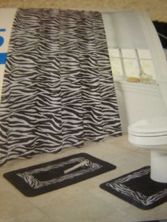 Zebra Wild Animal Print Black & White Bath Shower Curtain Rug Mat