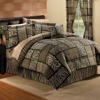 New Brown Leopard Zebra Animal Print Safari Comforter Set Bed Decor