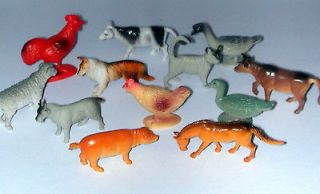12 ~ FARM ANIMAL Figures Toys ~1.5   2.25 ~Hard Plastic~ NEW ~ FREE