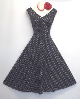 New Pin up Vintage1940/50s style Navy Blue Polka Summer Swing Tea