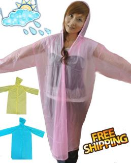 NEW 44 LENGTH HIGH QUALITY TRANSPARENT PLASTIC VINYL RAINCOAT FOR