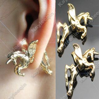 Gold False Plug 3D Unicorn Pony Flying Horse Earrings Ear Stud Fancy
