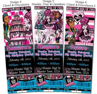 Monster High Sweet 1600 Birthday U PRINT Custom Ticket Invitations