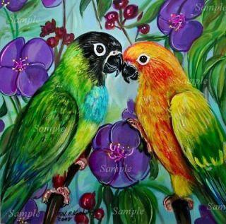 CONURE GICLEE of Painting Green Yellow PARROT Bird Kris Kasheta ART