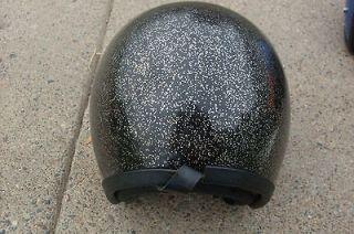 Vintage Black w/silver Metal Flake Glitter Sparkle Helmet Open Face