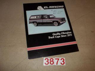 El Rancho Pickup Topper Truck Cap Sales Folder Undated