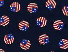 Quilt Quilting Fabric July 4th American Flag Smiley Face Navy Blue Red