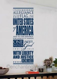 Pledge Allegience To The Flag Patriotic Vinyl Decal Wall Sticker Words