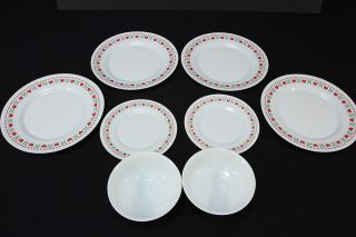 Arcopal France Cross Stitch Heart Dishes Dinner & Salad Plates