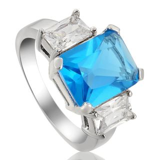 Lady Fashion Jewelry Aquamarine Topaz 18k White Gold Plated Cocktail