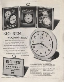 1951 VINTAGE WESTCLOX MADE BY BIG BEN CLOCK FAMILY MAN PRINT AD