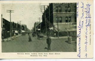 OKLAHOMA TERRITORY DOWNTOWN STREET SCENE VINTAGE B&W POSTCARD 1906