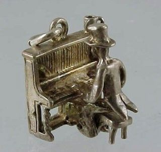 Vintage UK Sterling Silver Movable PIANO PLAYER MAN with UPRIGHT