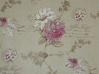 Designer Curtain Fabric French Floral Script Cerise Pink Linen by the