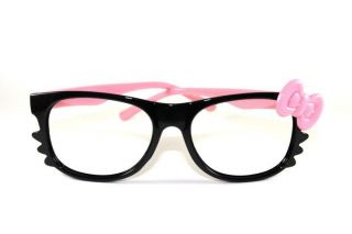 BLACK/PINK Hello Kitty Bow Unisex Fashion Nerd Eyeglasses Lens Glasses