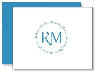 Custom Personalized Circular Monogram Thank You Note Cards   Any Color
