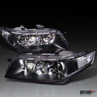 04 05 ACURA TSX JDM STYLE BLACK PROJECTOR HEADLIGHTS LAMPS LEFT+RIGHT