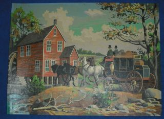 Vtg Larger size paint by Number Stagecoach western scene picture
