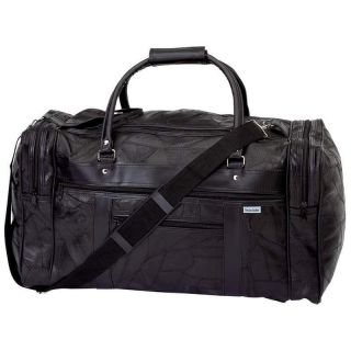 New 21 Black Leather Gym Bag Travel Tote Carry On Luggage Duffle Mens