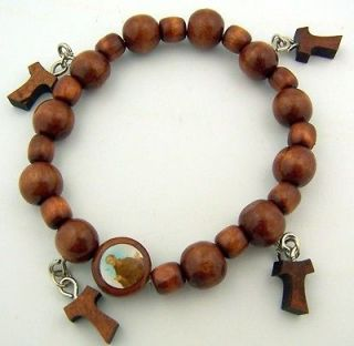 Brown Wood Bead Patron Saint Francis Tau Cross Adjustable Bracelet