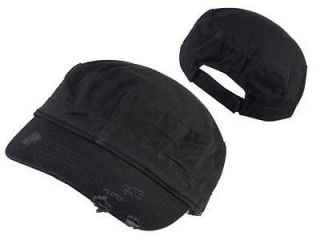 NEW BLACK MILITARY STYLE CADET CAP HAT_DISTRESSED_*ADJUSTABLE* URBAN