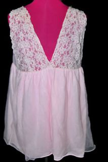 Z46 lace VTG SISSY nylon blouse pink camisole M L nightie Sexy teddy