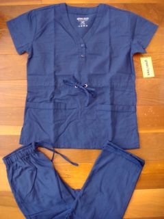 Scrub Front Tie Top Cargo Pant Navy Blue Nursing Uniform Set XS 2XL