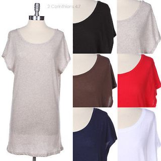 Casual Solid Plain Short Sleeve Long Tunic Cotton Top Wide Round Neck