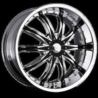 20 22 24 26 VCT Abruzzi Chrome Black Wheels Chevy Impala Caprice