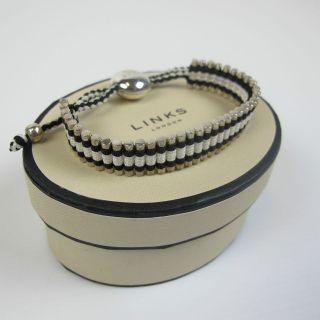 GENUINE Links of London Silver & Black FEED Cord Friendship Bracelet