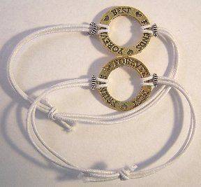 Two White Stretch Cord Bracelets   BEST FRIENDS FOREVER