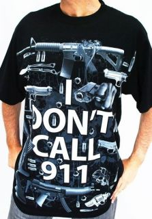 Club Urban Dont Call 911 T Shirt Black Hip hop mens clothing tattoo