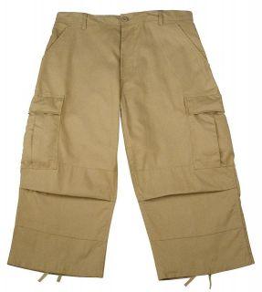 Mens Khaki Cropped Capri Pants w/Cargo Pockets