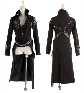 NEW ARRIVAL Classic Goth Punk Red Rock Fashion heavy metal Long Jacket