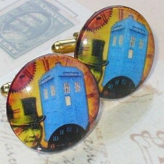 Steampunk Victorian cufflinks cuff link pocket watch Dr Who Tardis gun