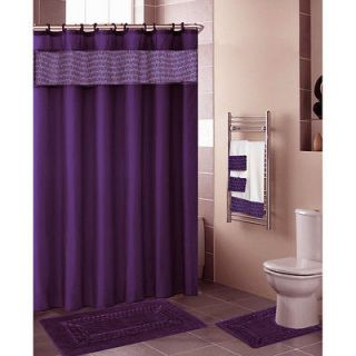 Beautiful Blue Purple Shower Curtain Silver Rings Hooks