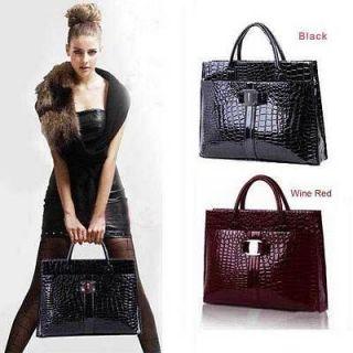 OL Lady Women Crocodile Pattern Hobo Handbag Tote Bag Purses Satchel