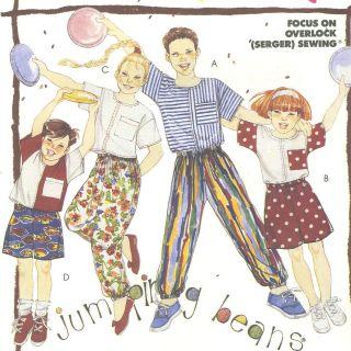 Girls Boys Knit Top Baggy Pant Shorts Sewing Pattern Elastic Waist