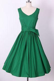 50s Audrey Hepburn Style Little Green Dress Size XS Pinup Vintage