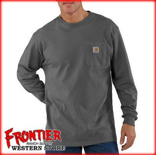 Carhartt Long Sleeve Cotton Pocket T Shirt Charcoal K126 CHR