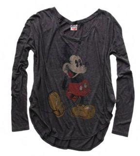 Junk Food Mickey Mouse Vintage Long Sleeve Juniors Rebel T Shirt