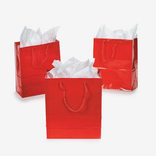 Paper Small Red Gift Bags / LO OF 12 BAGS / WEDDING (26/501)