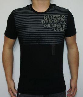 NEW Guess Round Neck Men Graphic Tee Shirt Blacks Guess Denim go Los