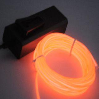 Neon Light Glow EL Wire Rope Tube Car Dance Party Transparent Orange