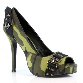 PEEP TOE CAMO PUMPS ARMY BUCKLE STRAP PUNK ROCK CLUB SOLIDER