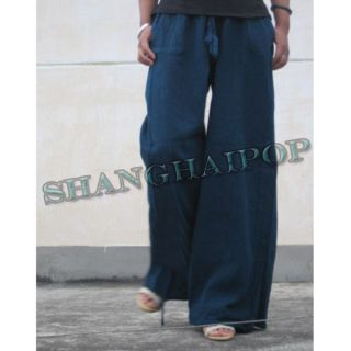 Women Palazzo Pants Linen Wide Leg Harem Trousers Yoga Drawstring
