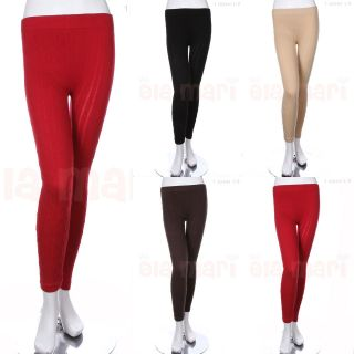 Warm Cotton Cable Knit Full Length Long Leggings Tights Skinny Pants
