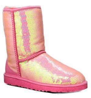 Classic Short Sequin NEON HOT PINK Sparkles Boots Size 10/Euro 41