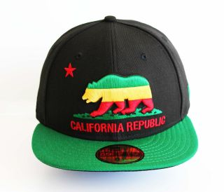 New Era 5950   California Republic Rasta   Official Fitted Hat